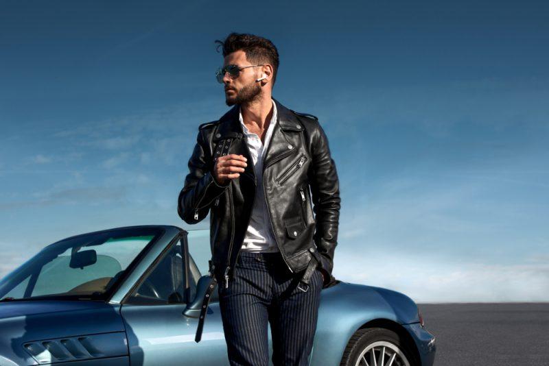 Man in Leather Biker Jacket