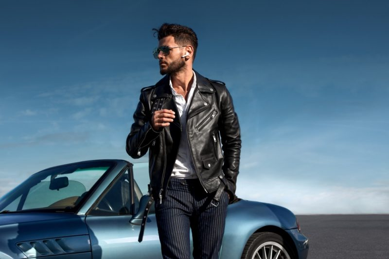 Man in Leather Biker Jacket and Pinstripe Pants