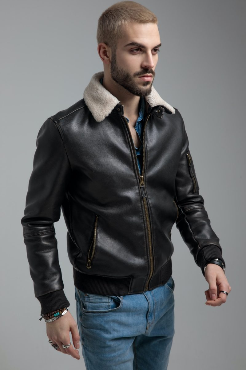 Man in Leather Bomber Jacket