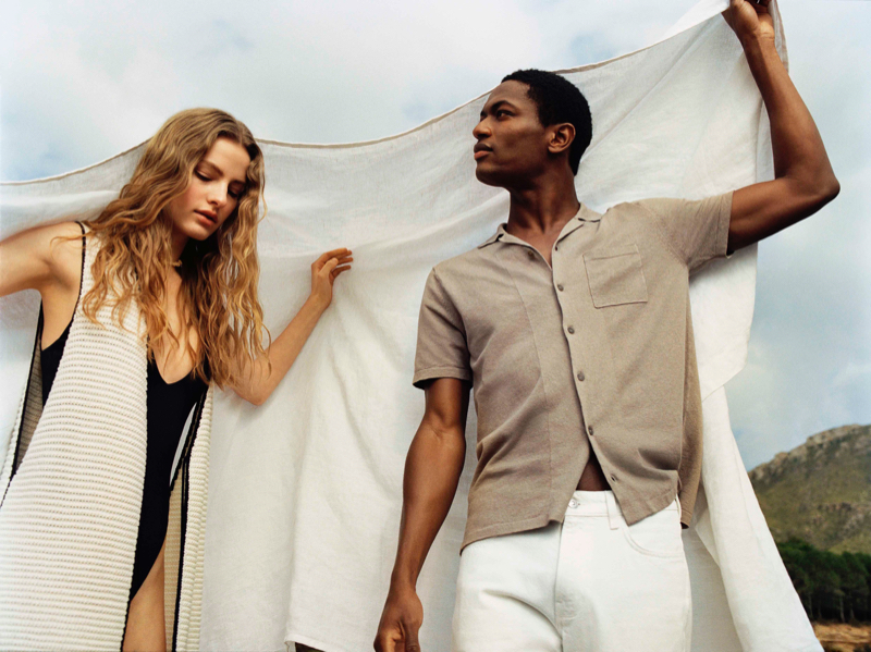 Felice Noordhoff and Hamid Onifade model Mango's Committed collection.
