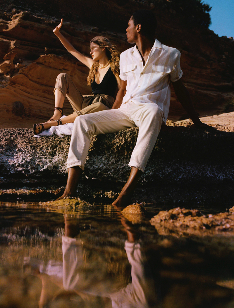 Models Felice Noordhoff and Hamid Onifade travel to Mallorca to showcase Mango's Committed collection.