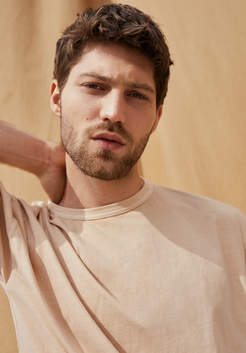 Boyd Gates dons a t-shirt from Mango Committed's Mineral Dyes capsule collection.