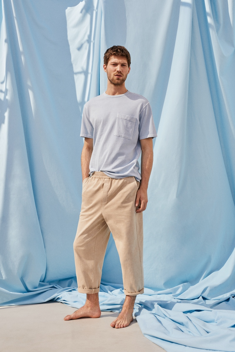 Donning relaxed proportions, Boyd Gates showcases clothes from Mango Committed's Mineral Dyes capsule collection.