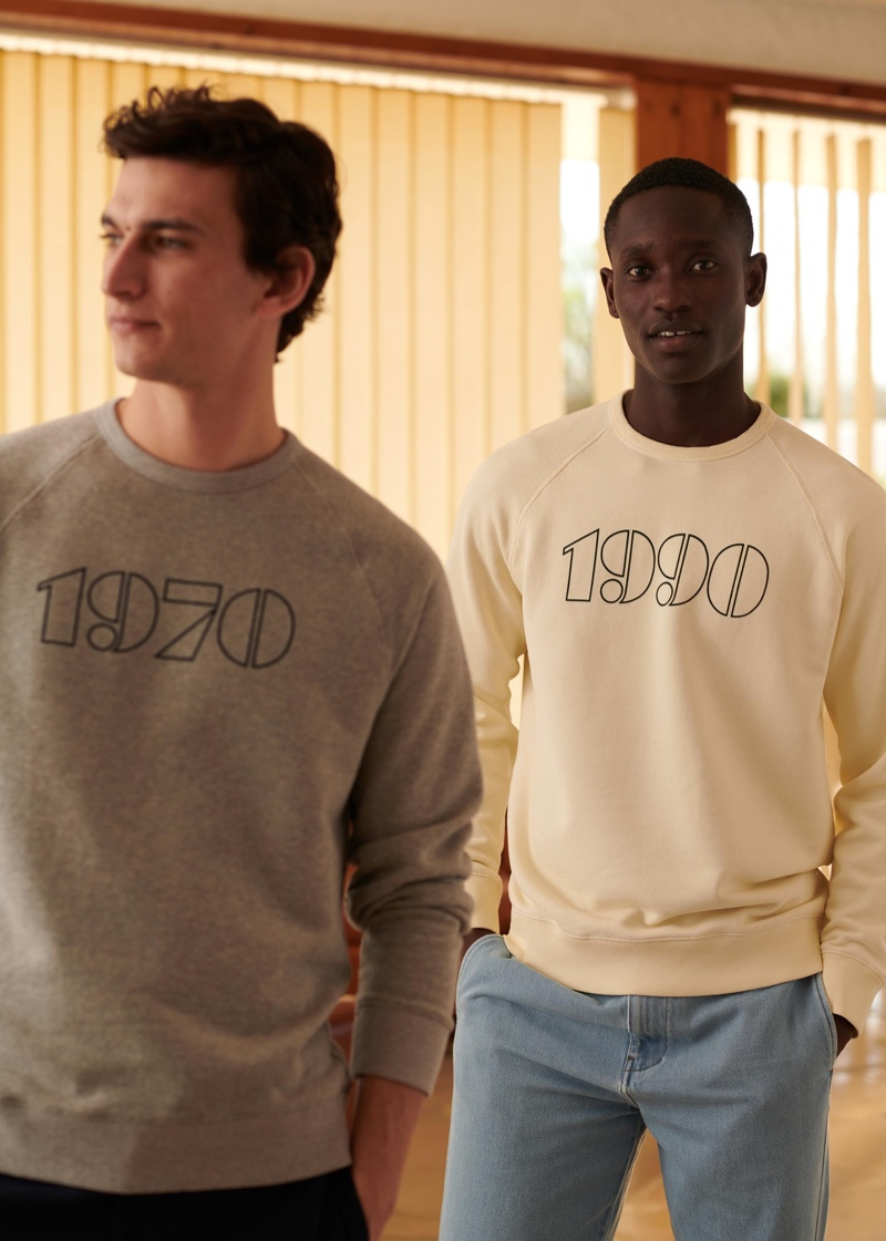 Embracing casual style, Thibaud Charon and Charles Oduro wears Octobre sweatshirts from the brand's new Motel Paradise collection.