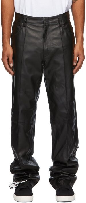 Off-White Black Leather Formal Pants