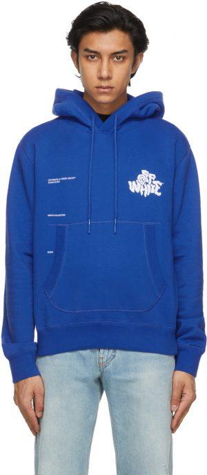 Off-White Blue Blur Logo Slim Flatlock Hoodie