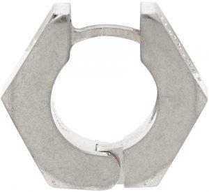 Off-White Silver Hexnut Single Earring