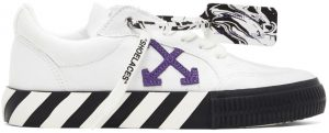 Off-White White & Purple Vulcanized Low Sneakers