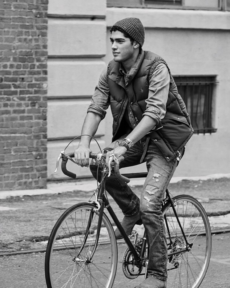 Enjoying a bike ride, Torin Verdone appears in the POLO Cologne Intense campaign.