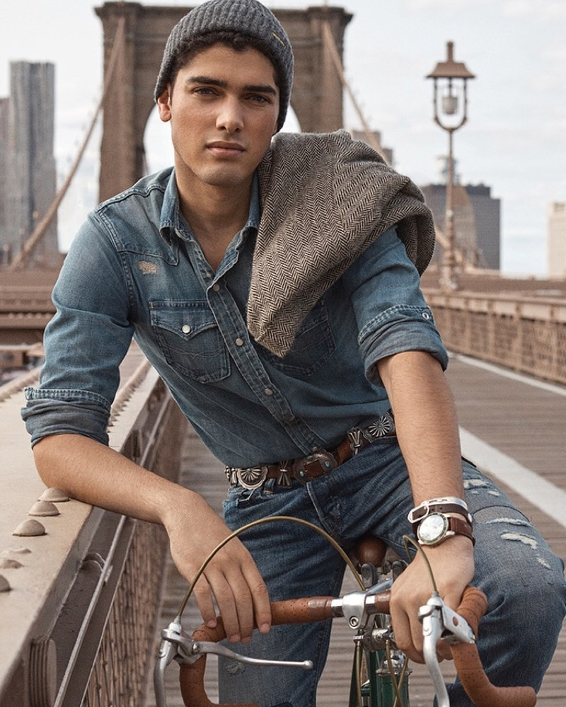 Doubling down on classic denim, Torin Verdone stars in the POLO Cologne Intense campaign.