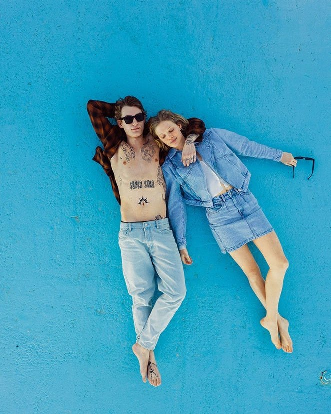 Models Anton Thiemke and Marie Maxime Lucassen wear spring denim from Reserved.