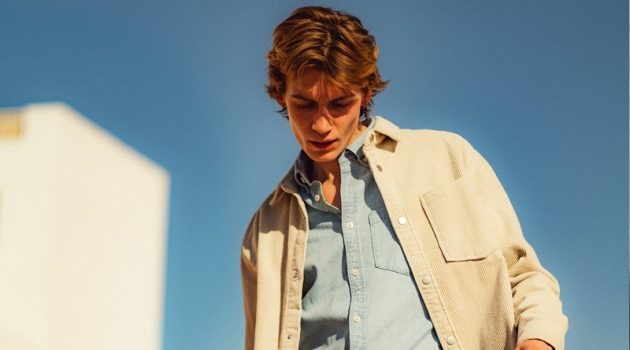 Sporting layered denim, Anton Thiemke wears a Reserved shirt jacket with a denim shirt and jeans.