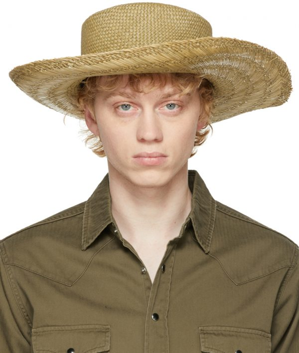 Saint Laurent Beige Straw Honolulu Hat