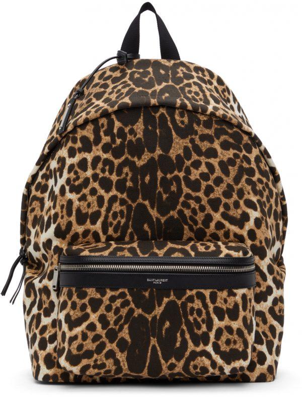 Saint Laurent Beige & Black Leopard Print City Backpack