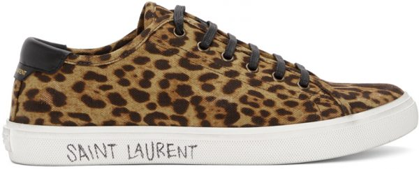 Saint Laurent Beige & Black Print Malibu Low-Top Sneakers