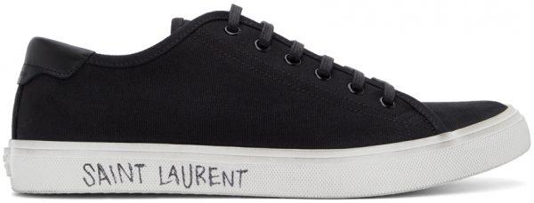 Saint Laurent Black Canvas Malibu Sneakers