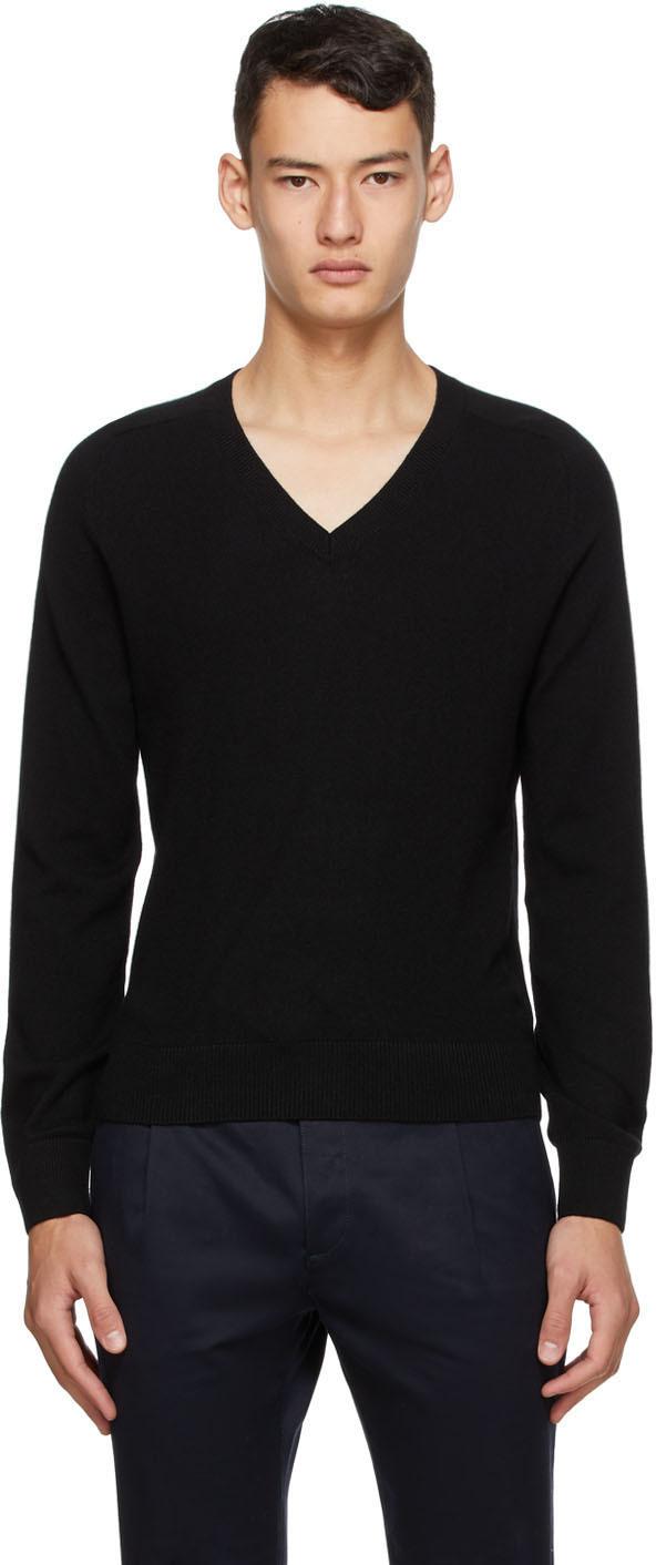 Saint Laurent Black Cashmere V-Neck Sweater