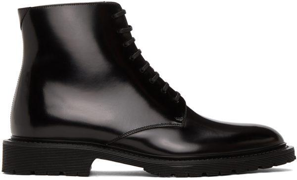 Saint Laurent Black Cesna 20 Lace-Up Boots