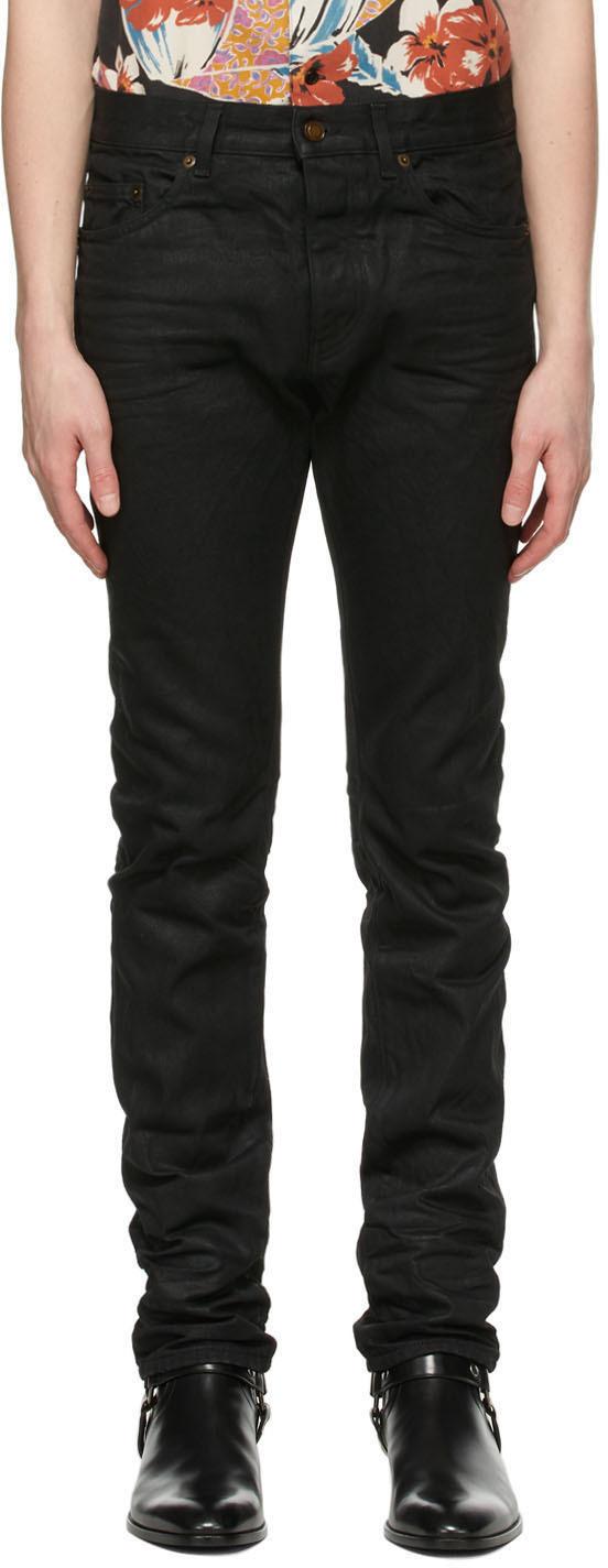 Saint Laurent Black Coated Slim-Fit Jeans
