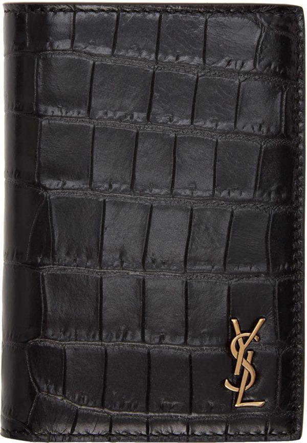 Saint Laurent Black Croc-Embossed Tiny Monogramme Credit Card Holder