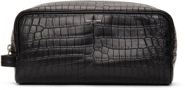 Saint Laurent Black Croc Grooming Pouch