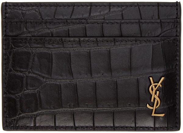Saint Laurent Black Croc King Palm Card Holder