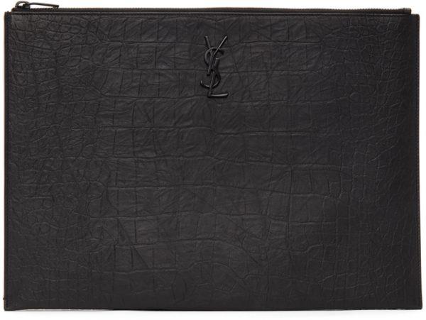 Saint Laurent Black Croc Monogramme A4 Pouch