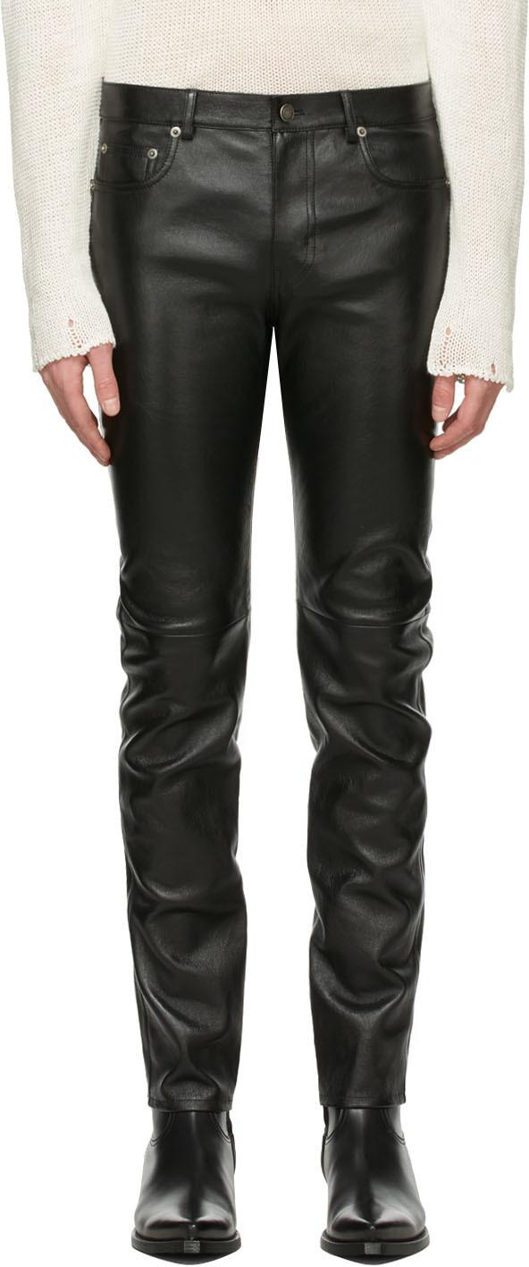 Saint Laurent Black Leather Skinny Pants