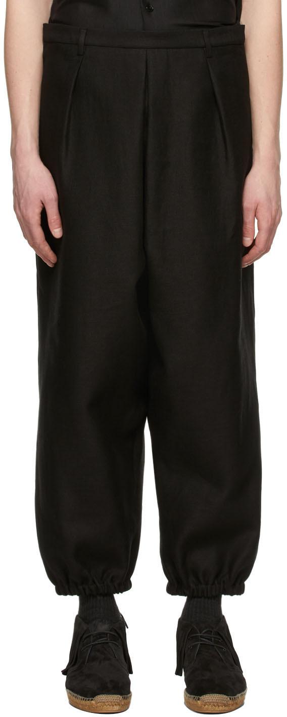 Saint Laurent Black Linen Hakama Trousers