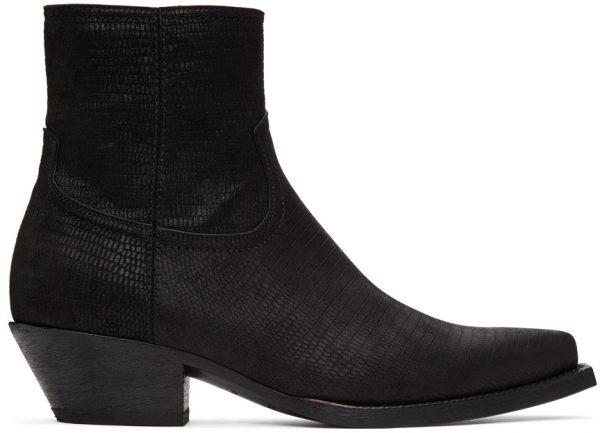 Saint Laurent Black Lizard Lukas Boots
