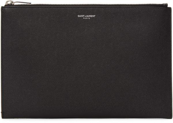 Saint Laurent Black Mini Tablet Holder Pouch