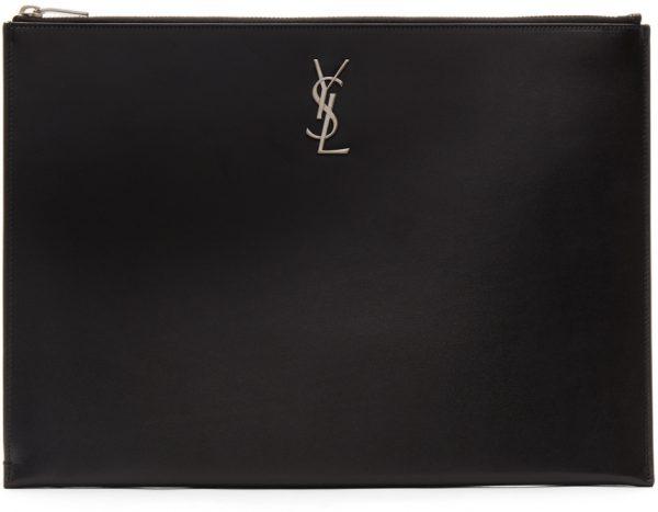 Saint Laurent Black Monogramme A4 Pouch
