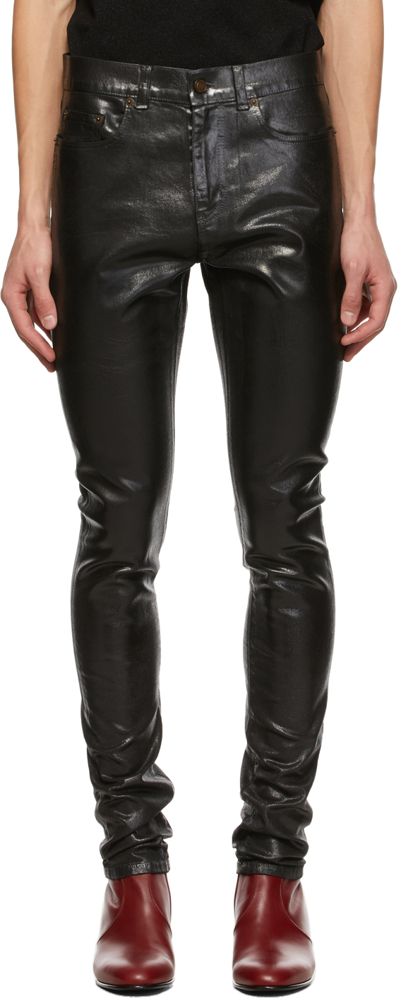 Saint Laurent Black Oily Coated Skinny Jeans