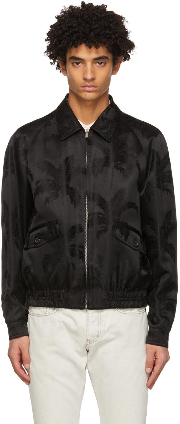 Saint Laurent Black Palm Teddy Raglan Jacket