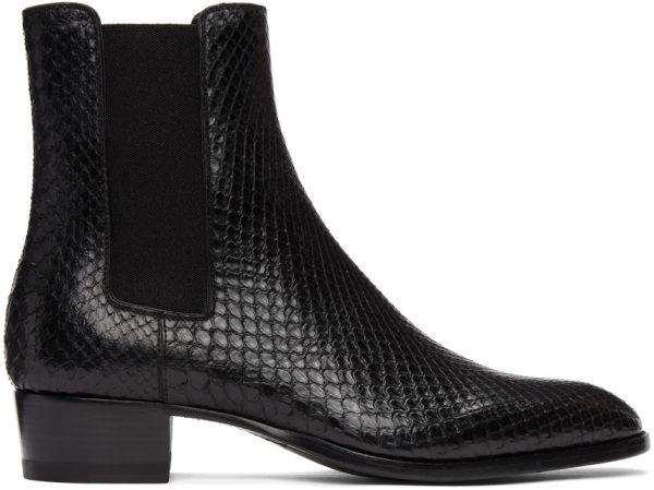 Saint Laurent Black Python Wyatt Chelsea Boots