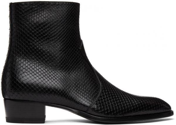 Saint Laurent Black Python Wyatt Zip Chelsea Boots