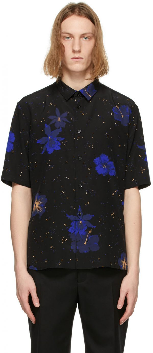 Saint Laurent Black Silk Confetti Hibiscus Short Sleeve Shirt