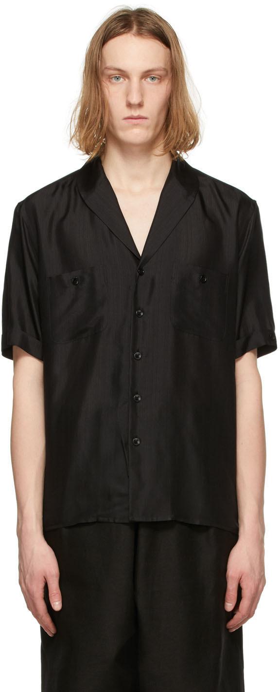 Saint Laurent Black Silk Voile Striated Short Sleeve Shirt