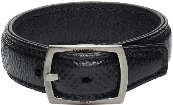Saint Laurent Black Snake Embossed Bracelet