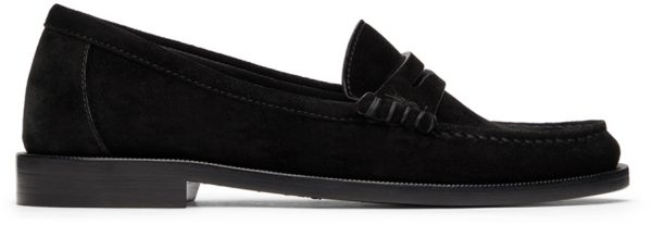 Saint Laurent Black Suede 'Le Loafer Monogram' Penny Slippers