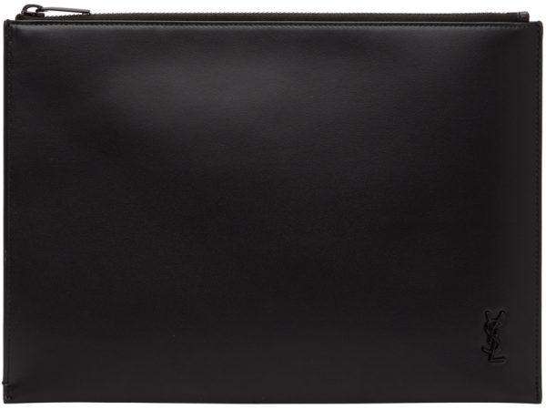 Saint Laurent Black Tiny Monogram Tablet Pouch