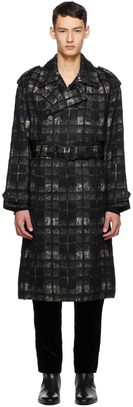 Saint Laurent Black & Beige Alpaca Trench Coat