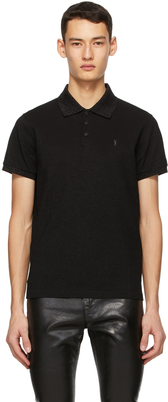 Saint Laurent Black & Gold Monogram Polo