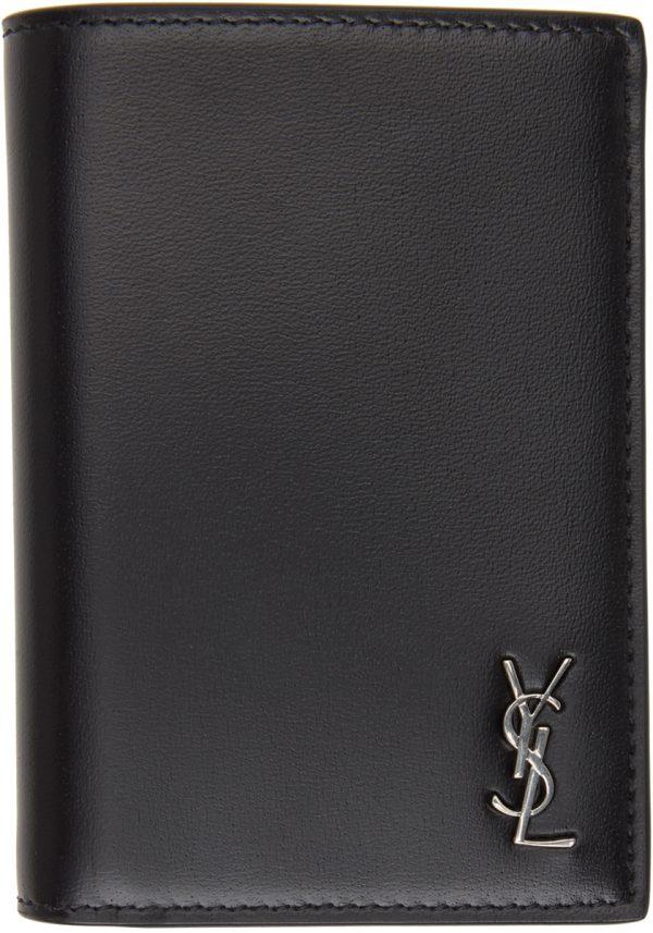 Saint Laurent Black & Gunmetal Tiny Monogramme Wallet