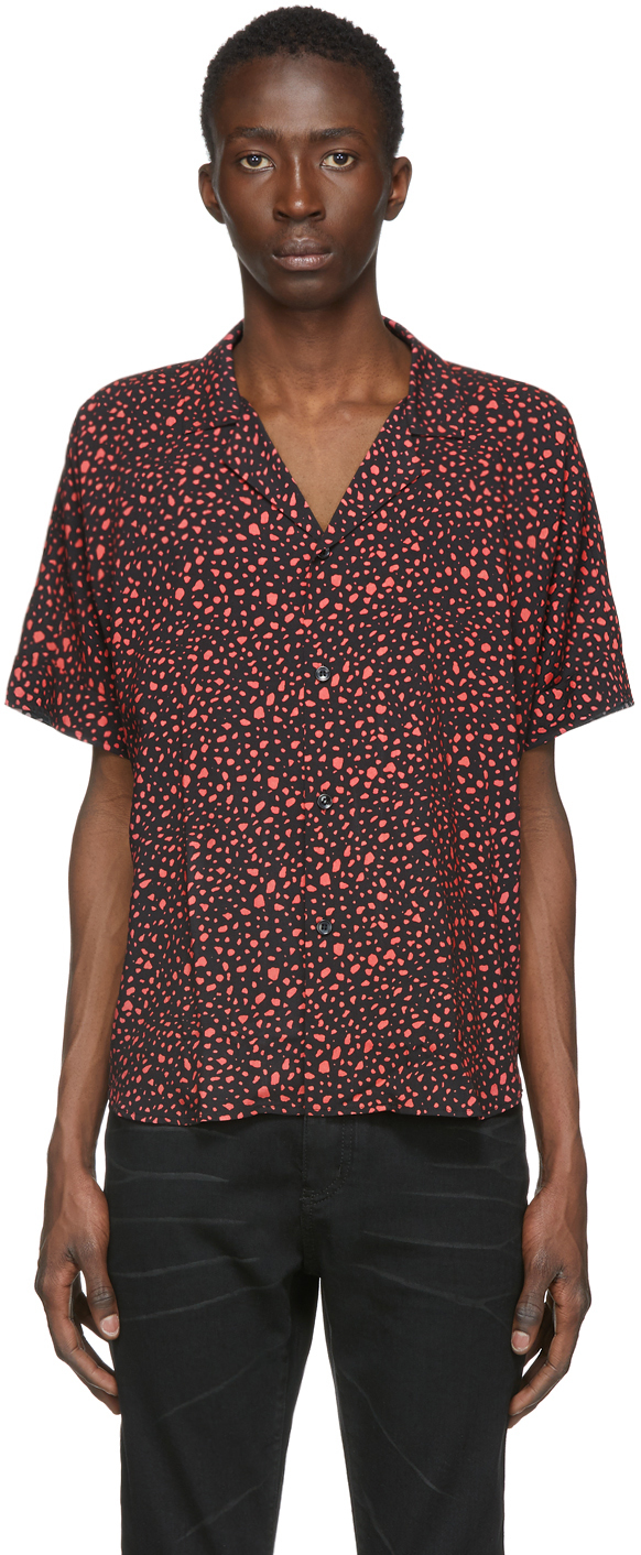 Saint Laurent Black & Pink Leopard Shirt