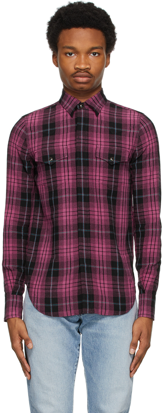 Saint Laurent Black & Pink Slim Tartan Shirt