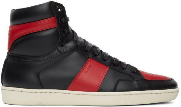 Saint Laurent Black & Red Court Classic SL/10H High-Top Sneakers