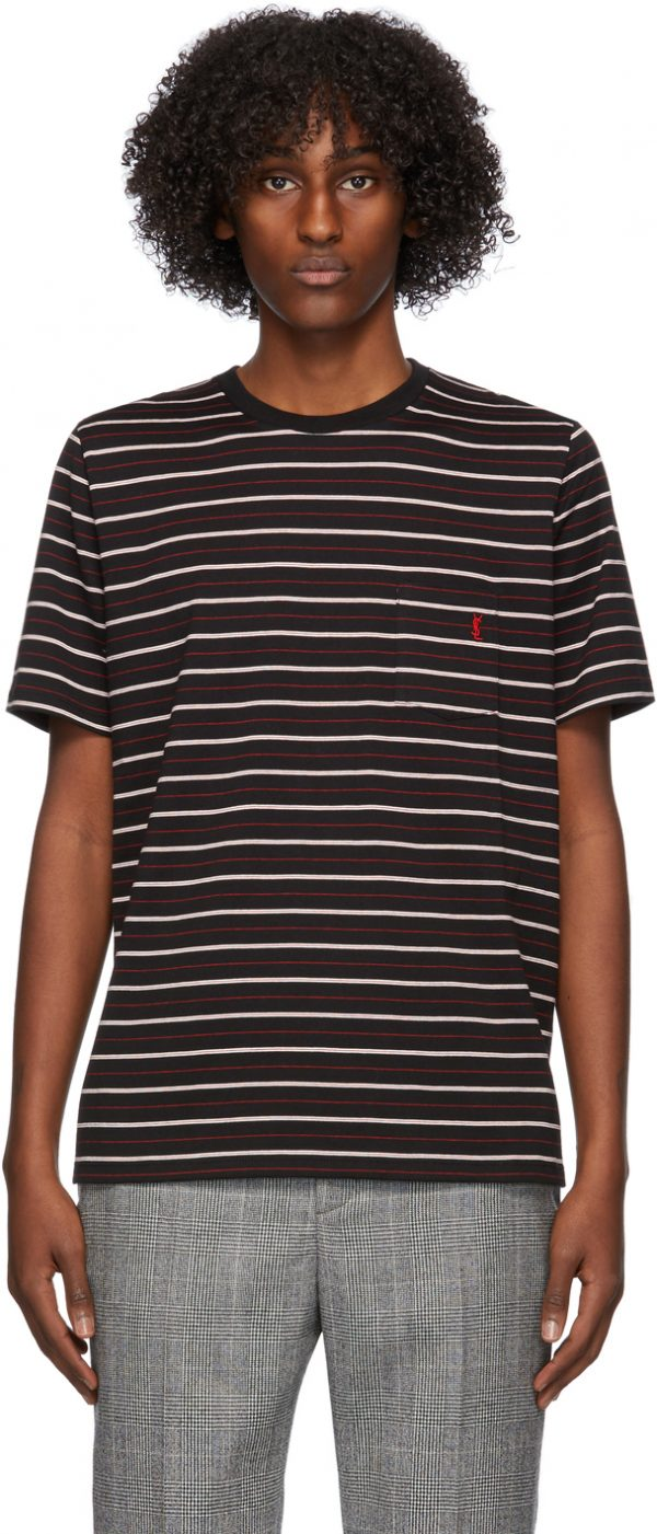 Saint Laurent Black & Red Striped T-Shirt
