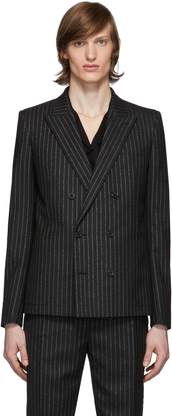 Saint Laurent Black & Silver Lamé Blazer