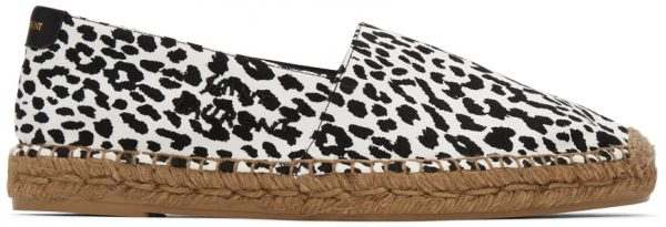 Saint Laurent Black & White Leopard Espadrilles
